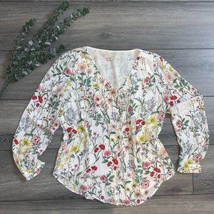 White Floral LOFT Long Sleeved Blouse